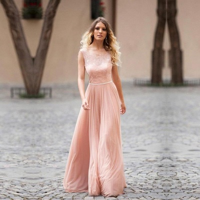 Lovely Pink Sleeveless 2020 Prom Dress Long Lace Tulle_5