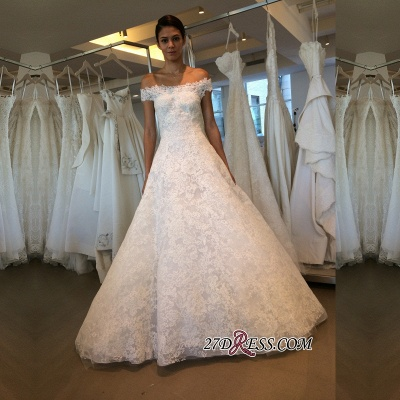 Off-the-shoulder Lace A-line Newest Wedding Dress_1