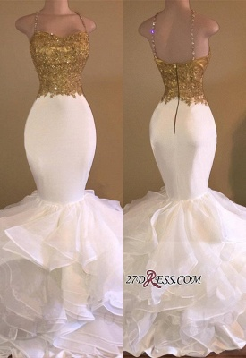 Lace-Appliques Sleeveless Ruffles Mermaid Sexy Spaghetti-Strap Prom Dress_2