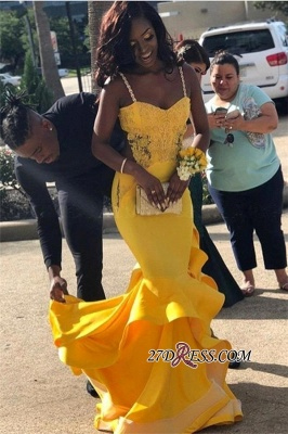 Gorgeous Spaghetti-Strap Yellow Prom Dresses | 2020 Mermaid Long Evening Gowns BK0_2