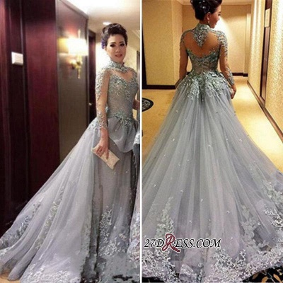 Modest Tulle Appliques High-Neck Long-Sleeves Prom Dress_1