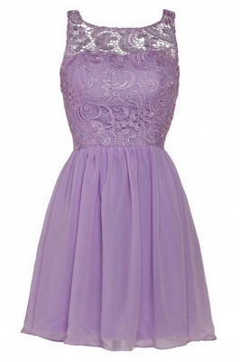 Lovely Illusion Sleeveless Chiffon Short Cocktail Dress With Lace_11
