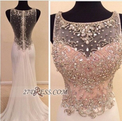 Glamorous Illusion Sleeveless Long Prom Dress With Beadings Crystals_2