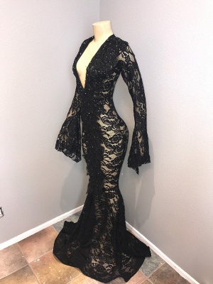 Sexy Black Lace Prom Dresses | 2020 Mermaid V-Neck Evening Gowns BC0558_3