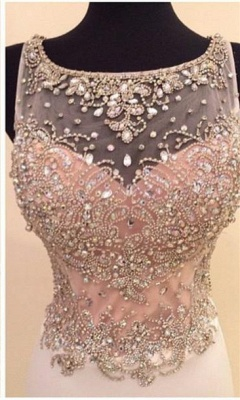 Glamorous Illusion Sleeveless Long Prom Dress With Beadings Crystals_4