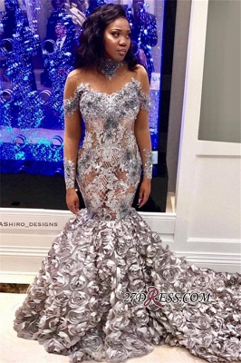 Sexy See Through 3D Flowers Mermaid Prom Dresses | High Neck Long Sleeves Appliques Evening Dresses BK0 BC1561_3