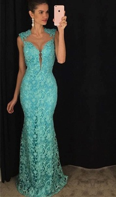 Delicate Lace Mermaid 2020 Prom Dress Sleeveless Sweep Train AP0_1