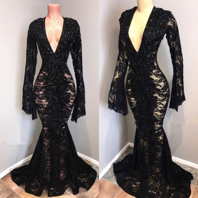 Sexy Black Lace Prom Dresses | 2020 Mermaid V-Neck Evening Gowns BC0558_4