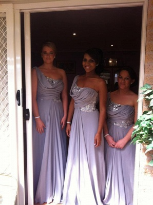 Light Purple Dresses for Bridesmaid on Sale 2020 New Sequined Long Chiffon Bridesmaid Gowns_2