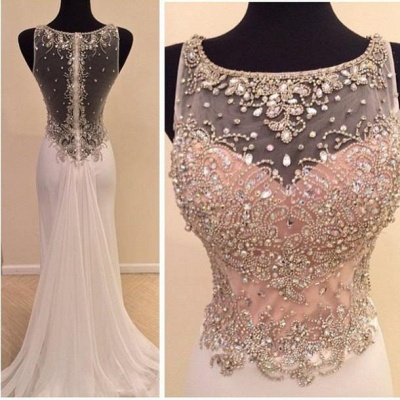 Glamorous Illusion Sleeveless Long Prom Dress With Beadings Crystals_3
