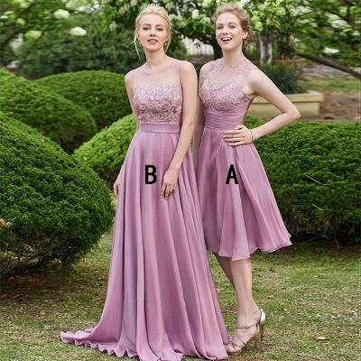 Delicate Lace A-line Sleeveless Bridesmaid Dress | A & B styles Bridesmaid Dress_3