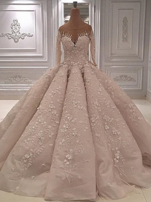 Luxury Long Sleeves Ball Gown Wedding Dress-Sheer Neck Lace Appliques Long Bridal Dresses_1