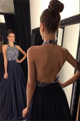 Sexy Black Halter 2020 Prom Dresses Backless Long Chiffon With Beadings AP0_1