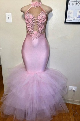 Halter Flower Appliques Mermaid Prom Gown | Pink Sleeveless Tulle Prom Dress_3