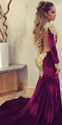 Stunning Long Sleeve Golden Appliques Evening Dresses 2020 Mermaid With Train_1