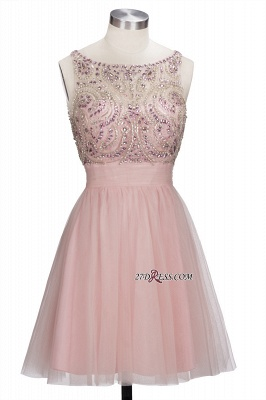 Fashion Pink Jewel Cap-Sleeve Tulle Short Cocktail Dresses_6
