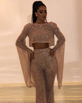 Fashion Two-Pieces Crew Long sleeves Prom Dress | 2020 Floor-Length Crystal Sequins Evening Gown_3