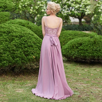 Delicate Lace A-line Sleeveless Bridesmaid Dress | A & B styles Bridesmaid Dress_2