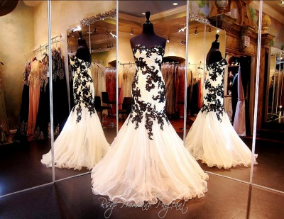 Elegant Sweetheart Black Appliques Evening Dresses 2020 Mermaid Sweetheart Tulle_3
