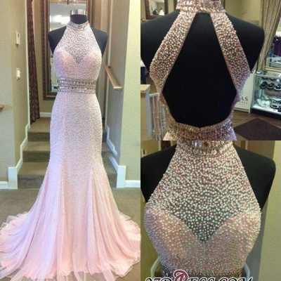 2020 Crystal Mermaid Halter Open-Back Two-Pieces Luxury Prom Dress_2