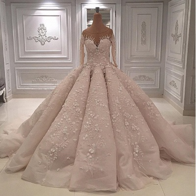 Luxury Long Sleeves Ball Gown Wedding Dress-Sheer Neck Lace Appliques Long Bridal Dresses_2