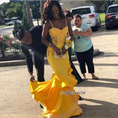 Gorgeous Spaghetti-Strap Yellow Prom Dresses | 2020 Mermaid Long Evening Gowns BK0_4