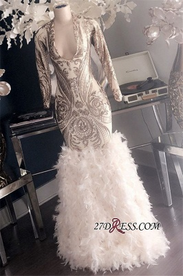 Feathers Mermaid Glamorous Long-Sleeves Deep-V-Neck Prom Dresses_2