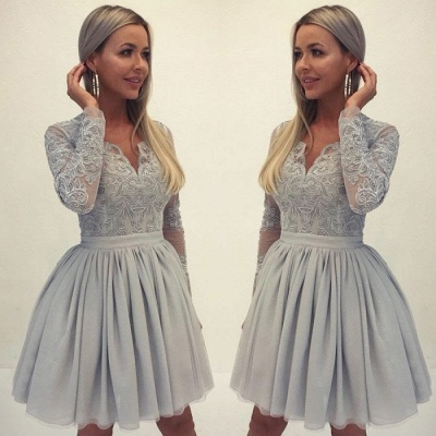 Elegant Long Sleeve Lace Homecoming Dress | 2020 Mini Short Dress_3
