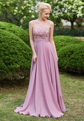 Delicate Lace A-line Sleeveless Bridesmaid Dress | A & B styles Bridesmaid Dress_1
