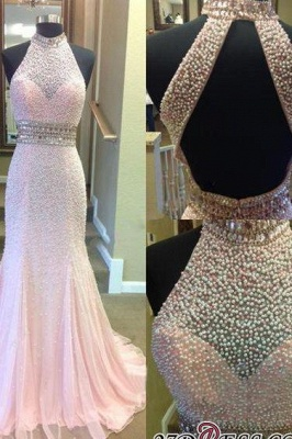 2020 Crystal Mermaid Halter Open-Back Two-Pieces Luxury Prom Dress_1