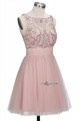 Fashion Pink Jewel Cap-Sleeve Tulle Short Cocktail Dresses_5