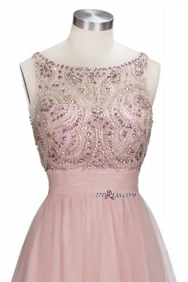 Fashion Pink Jewel Cap-Sleeve Tulle Short Cocktail Dresses_3
