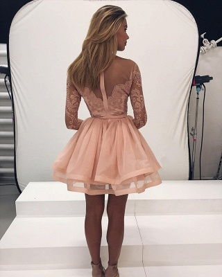 Glamorous Long Sleeve 2020 Lace Homecoming Dress Tulle Zipper Back BA7086_3