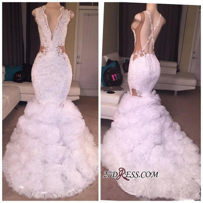 Criss-cross Sleeveless Mermaid Lace Ruffles Deep-V-neck Appliques 2020 Prom Dress BA5316_1