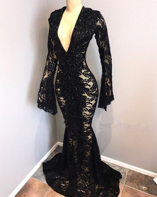 Sexy Black Lace Prom Dresses | 2020 Mermaid V-Neck Evening Gowns BC0558_2
