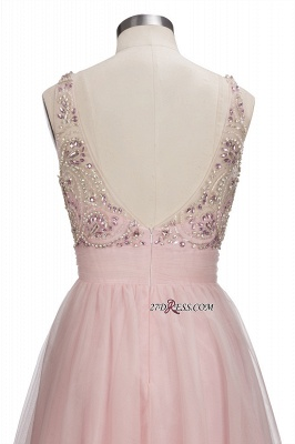 Fashion Pink Jewel Cap-Sleeve Tulle Short Cocktail Dresses_2