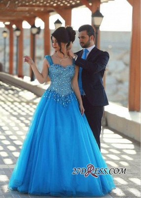 2020 Sleeveless Long Crystals Straps A-line Gorgeous Evening Dress SP0179_4