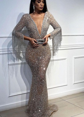 Sexy Deep V-Neck Floor-Length Sequins Evening Gown | Mermaid Crystals Tassels Prom Dress With Bow BC0627_1