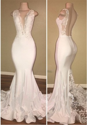 Elegant White Lace 2020 Evening Dress Mermaid Lace Backless Party Gowns BA7772_1