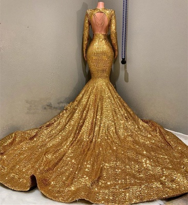 Gorgeous Long Sleeve Gold Sequins Prom Dresses | 2020 Mermaid Evening Gowns On Sale BC0959_2