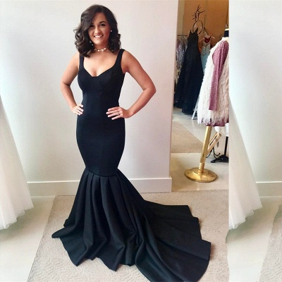 Gorgeous Mermaid Black Evening Dress 2020 Strap Long Party Gowns_3