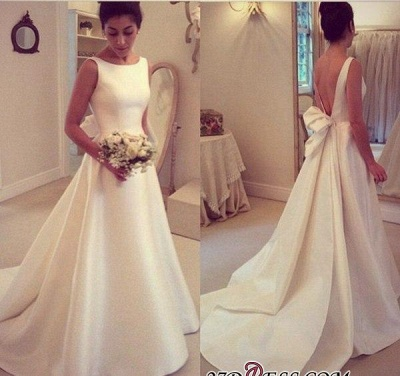 2020 Jewel Sleeveless Bow Sweep-Train A-line Elegant Wedding Dress_1