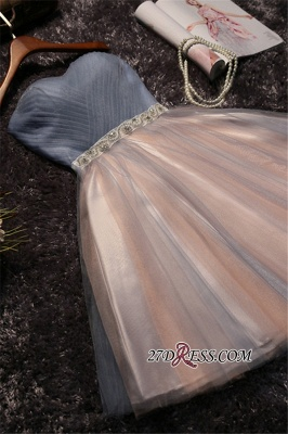 Chic Tulle Short A-Line Prom Dresses | Sweetheart Sleeveless Crystals Party Dresses_1