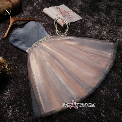 Chic Tulle Short A-Line Prom Dresses | Sweetheart Sleeveless Crystals Party Dresses_7