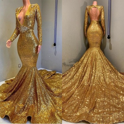 Gorgeous Long Sleeve Gold Sequins Prom Dresses | 2020 Mermaid Evening Gowns On Sale BC0959_3