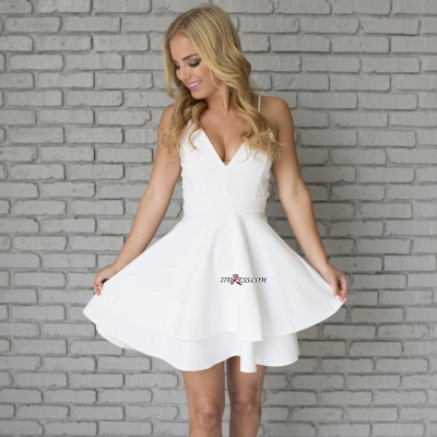 White Spaghetti-Strap Cute Lace Mini Sleeveless Homecoming Dress_6