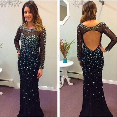 Sexy Black Long Sleeve Prom Dresses 2020 Crystals Long_3