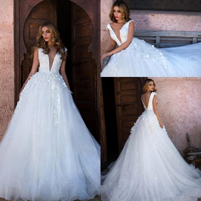 Glamorous V-Neck Cap Sleeves Wedding Dress | Long Lace Appliques Bridal Gowns On Sale_2