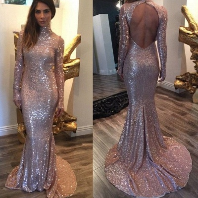 Sexy Sequined Mermaid Long Sleeve Prom Dress 2020 High Neck Sweep Train_3