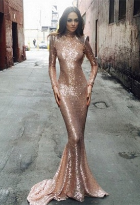 Sexy Sequined Mermaid Long Sleeve Prom Dress 2020 High Neck Sweep Train_1